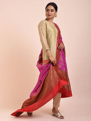 Pink-Red Handwoven Benarasi Muga Silk Dupatta