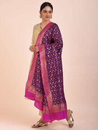 Purple-Pink Handwoven Benarasi Muga Silk Dupatta