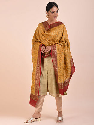 Mustard-Red Handwoven Benarasi Muga Silk Dupatta