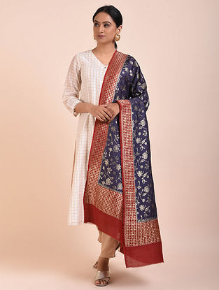 Blue-Red Handwoven Benarasi Muga Silk Dupatta