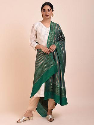 Green Handwoven Benarasi Muga Silk Dupatta