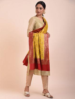 Yellow-Red Handwoven Benarasi Muga Silk Dupatta