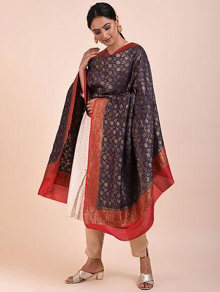 Blue-Red Handwoven Benarasi Muga Silk Dupatta
