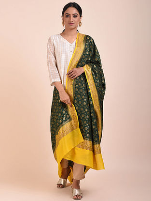 Black-Yellow Handwoven Benarasi Muga Silk Dupatta