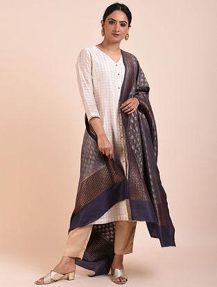 Grey Handwoven Benarasi Muga Silk Dupatta