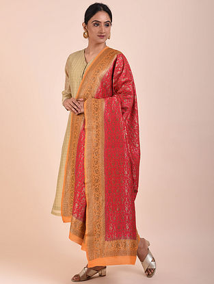 Red-Orange Handwoven Benarasi Muga Silk Dupatta