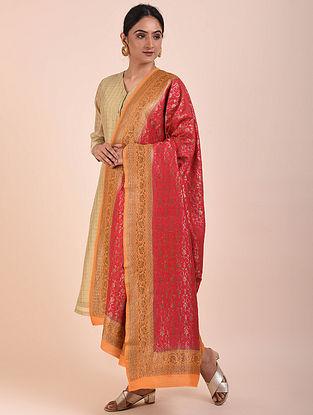 Red-Orange Handwoven Benarasi Muga Silk Dupatta