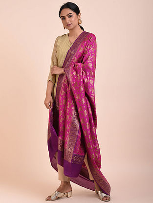 Pink-Purple Handwoven Benarasi Muga Silk Dupatta