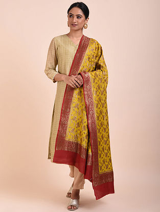 Yellow-Red Handwoven Benarasi Muga Silk Dupatta