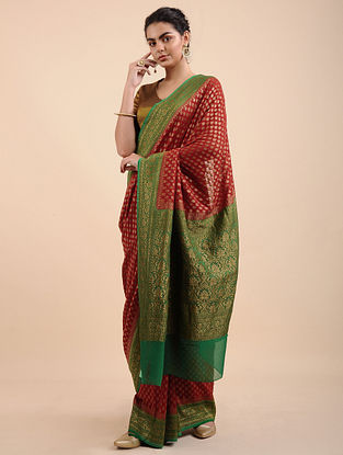 Red-Green Benarasi Georgette Saree with Zari