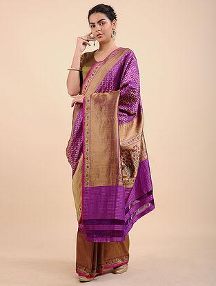 Purple Benarasi Pure Silk Saree with Zari