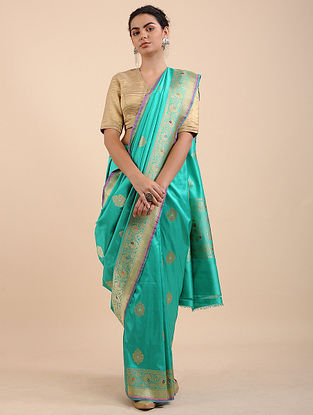 Green Benarasi Pure Silk Saree with Zari