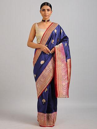 Blue-Red Handwoven Benarasi Silk Saree