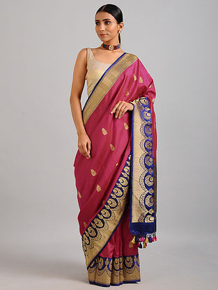 Pink-Blue Handwoven Benarasi Silk Saree
