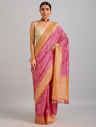 Pink-Orange Handwoven Benarasi Silk Saree