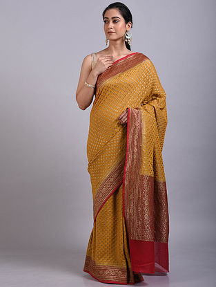 Mustard-Red Handwoven Benarasi Georgette Saree