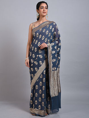 Dark Blue Handwoven Benarasi Georgette Saree