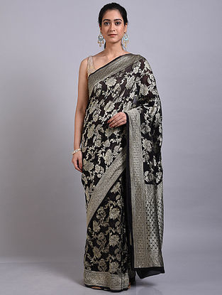 Black Handwoven Benarasi Georgette Saree