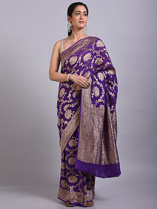 Purple Handwoven Benarasi Georgette Saree