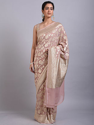 Light Pink Handwoven Benarasi Georgette Saree