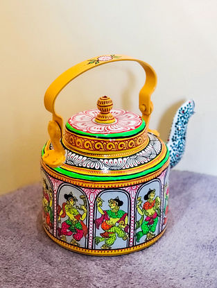 Pattachitra Yellow-Multicolor Hand-painted Aluminum Kettle (Dia - 5.5in, H - 7in)