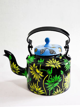 Abstract Lotus Black-Multicolor Hand-painted Aluminum Kettle (Dia - 5.5in, H - 7in)