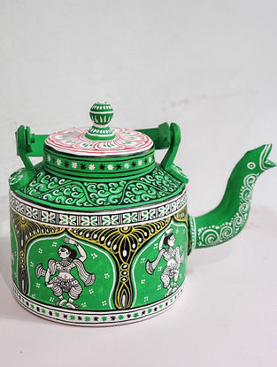 Pattachitra Green-Multicolor Hand-painted Aluminum Kettle (Dia - 5.5in, H - 7in)