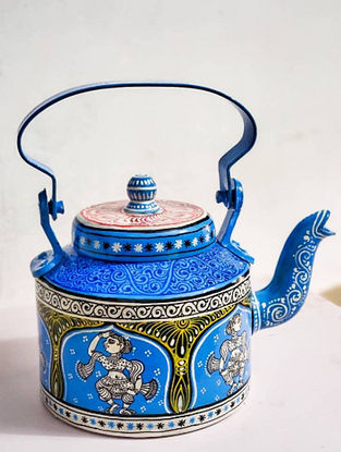 Pattachitra Blue-Multicolor Hand-painted Aluminum Kettle (Dia - 5.5in, H - 7in)
