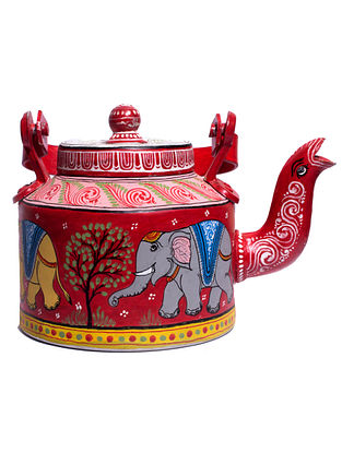 Pattachitra Red-Multicolor Hand-painted Aluminum Kettle (Dia - 5.5in, H - 7in)