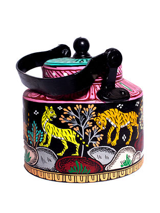 Pattachitra Black-Multicolor Hand-painted Aluminum Kettle (Dia - 5.5in, H - 7in)