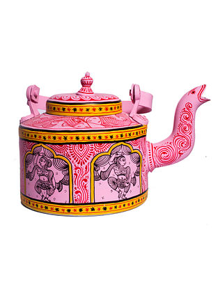 Pattachitra Pink-Multicolor Hand-painted Aluminum Kettle (Dia - 5.5in, H - 7in)