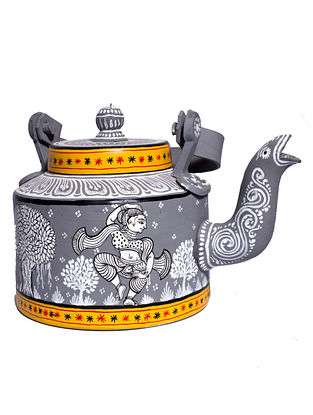 Pattachitra Grey-Multicolor Hand-painted Aluminum Kettle (Dia - 5.5in, H - 7in)