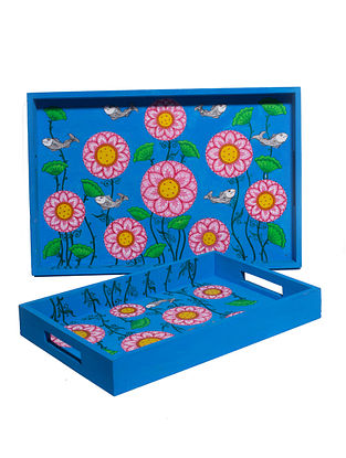 Floral Blue-Multicolor Hand-painted MDF Trays (Set of 2)