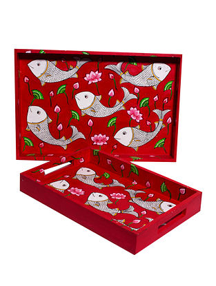 Pattachitra Red-Multicolor Hand-painted MDF Trays (Set of 2)