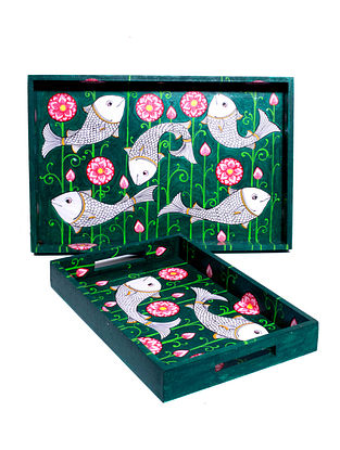 Pattachitra Green-Multicolor Hand-painted MDF Trays (Set of 2)