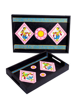 Pattachitra Black-Multicolor Hand-painted MDF Trays (Set of 2)
