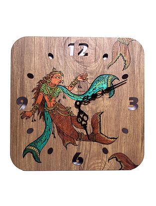 Mermaid Brown-Multicolor Hand-painted MDF Clock (L - 10in, W - 10in, H - 2in)