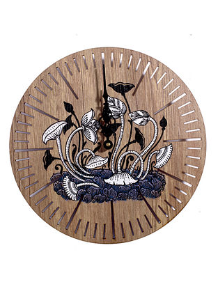 Abstract Art Brown-Multicolor Hand-painted MDF Clock (Dia - 10in, H - 2in)