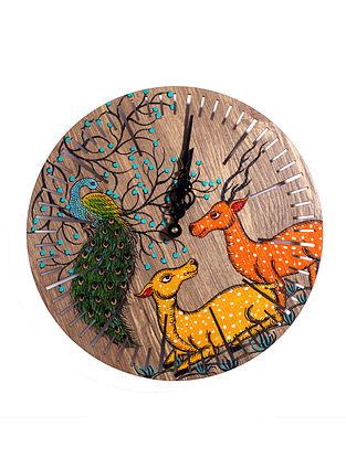 Peacock Deer Brown-Multicolor Hand-painted MDF Clock (Dia - 10in, H - 2in)