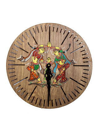 Pattachitra Brown-Multicolor Hand-painted MDF Clock (Dia - 10in, H - 2in)