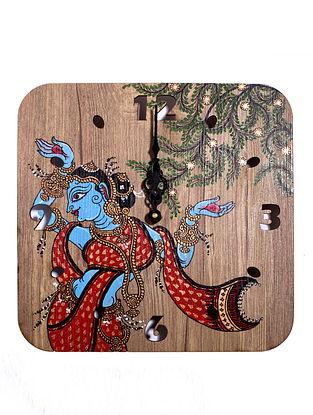 Neel Nari Brown-Multicolor Hand-painted MDF Clock (L - 10in, W - 10in, H - 2in)