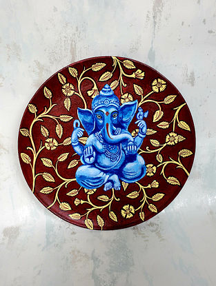 Ganesh Kalamkari Brown and Blue Hand-painted MDF Wall Plate (Dia - 10in, H - 1.5in)