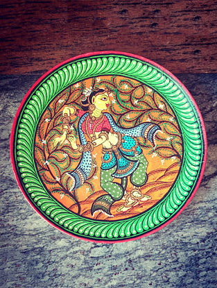 Pattachitra Green-Multicolor Hand-painted MDF Wall Plate (Dia - 10in, H - 1.5in)