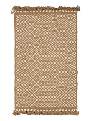 Brown-Ivory Hand Woven Cotton-Jute Rug by Jaypore