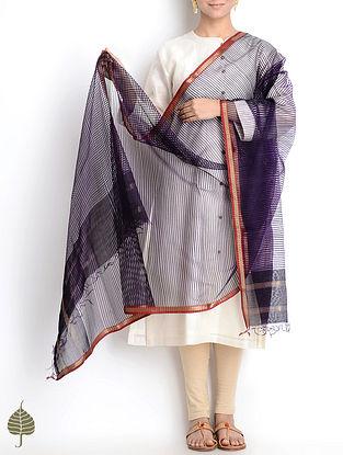 Purple-Red-Golden Maheshwari Silk-Cotton Dupatta