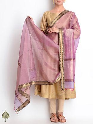 Pink-Golden Maheshwari Silk-Cotton Dupatta