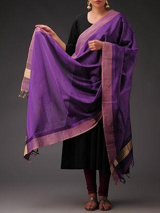 Purple-Golden Maheshwari Silk-Cotton Dupatta