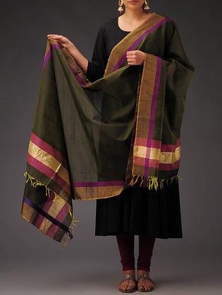 Dark-Green- Golden Maheshwari Silk-Cotton Dupatta