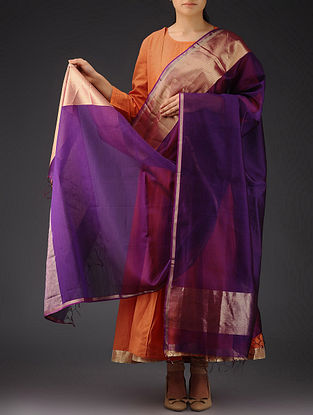 Purple - Golden Maheshwari Silk-Cotton Dupatta