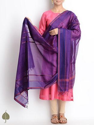 Purple Maheshwari Silk-Cotton Dupatta